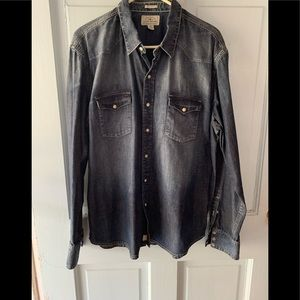 Lucky brand classic fit pearl snap denim shirt
